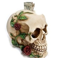 Bellaa Decorative Laughing White Skull Money Box - Piggy Bank with Rose Fantasy Statue Sculptures