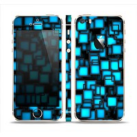 The Neon Blue Abstract Cubes Skin Set for the Apple iPhone 5s