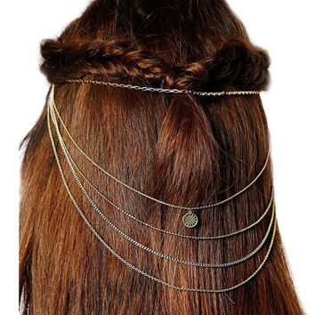 Bohemian Style Fashion Gold Punk Hairpin Hairclip Tassels Chains Hair Accessories (Size: One Size, Color: Gold) = 1928742852
