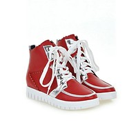 Mixed Color Lace Up Platform Ankle Boots 1936
