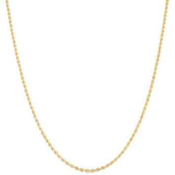 10k Yellow Gold 1.5mm - 2.5mm Solid D-cut Rope Chain Necklace 18-24inch