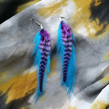 Teal Feather Earrings with Purple Grizzly Feather