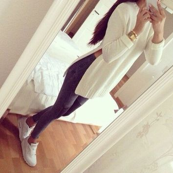 Casual Double Side Slit Long Sleeve Sweater