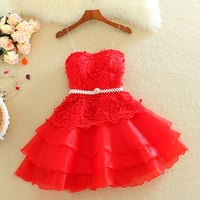 Red Straps Homecoming Dress,Short Applique Chiffon Homecoming Dresses