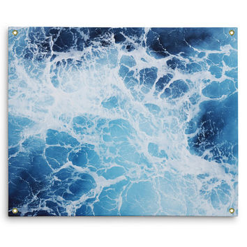 Blue Ocean Surf 3 - Wall Tapestry, Coastal Ocean Nautical Accent, Boho Chic Decor Tapestry Hanging Interior Backdrop. In Small Medium Large