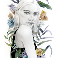 Girl with tropical flowers. Tropicana. Illustration, art print.