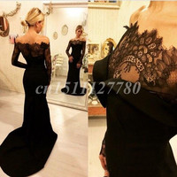 Sexy Black Mermaid Evening Dress Long Sleeve 2016 Arabic Off Shoulder Prom Gowns Formal Dresses Evening Wear Sweep Train