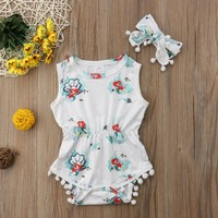 USA Infant Toddler Baby Girl Floral Bodysuit Romper Sunsuit Outfits Set Clothes
