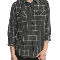 RUDE Faded Black Grid Plaid Woven