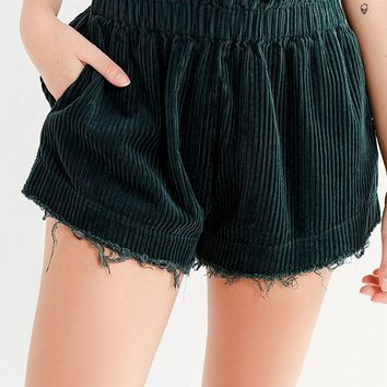 UO Corduroy Pull-On Frayed Short | Urban Outfitters