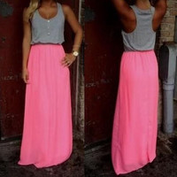 Color Block Sleeveless Button Design Maxi Dress
