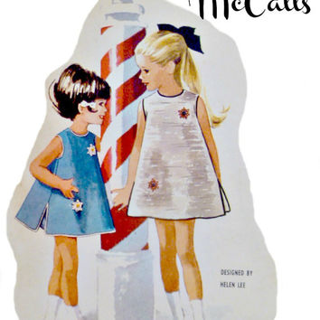 60s Girls A Line Dress Pattern Flared Sleeveless with Bloomers Missing Transfers Vintage McCalls 6793 Sewing Patterns Size 1