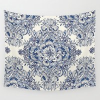Floral Diamond Doodle in Dark Blue and Cream Wall Tapestry by Micklyn