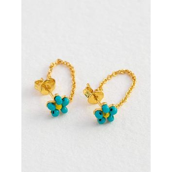 Daisy Chain Stud Earrings - Turquoise
