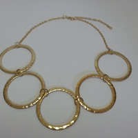 Beautiful Gold tone Statement Necklace - Industrial, Metal, Chain, Rings, Chainmail