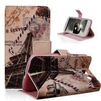TRURENDI Vintage Retro Paris France Eiffel Tower Girls Cute Animal Painted Art Series PU Leather Wallet Type Magnet Design Flip Case Cover Credit Card Holder Pouch Case for Samsung Galaxy S3 III I9300 (Retro Eiffel Tower)