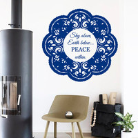 Wall Decals Mandala Quote Peace Within AmuIets Indian Flower Art Floral Pattern Yoga Studio Gym Home Vinyl Decal Sticker Bedroom Decor kk830