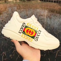 GUCCI New fashion letter stripe print sport running couple shoes