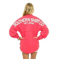 Crewneck Jersey Pullover in Tropical Red by The Southern Shirt Co.