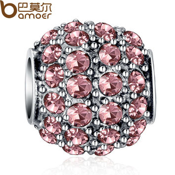 Silver Sparkling Round Crystal Charm Beads 4 Colors