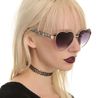 Floral Heart-Shaped Sunglasses