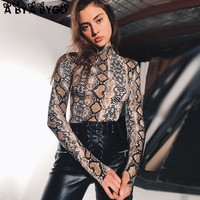 ABYABYGO 2018 Autumn Sexy Womens Bodysuits Bodycon Turtleneck Long Sleeve Snakeskin Print Bodycon Overalls For Women Body Suit
