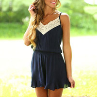 Women 2017 Fashion Lace Floral Romper Jumpsuits Casual Bodysuit Deep V Neck Sleeveless Playsuits Navy Blue Summer Rompers