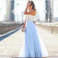 Women's Summer Dresses Chiffon  Evening Formal Party Lace Prom  Dress