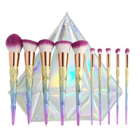 10 Thread Rainbow Handle Unicorn Makeup brushes Beauty Cosmetics Foundation Blending Blush With Bag Set