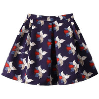 Navy Floral Mini Skater Skirt