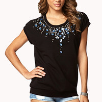 FOREVER 21 Bejeweled French Terry Sweatshirt Black/Silver Medium