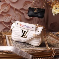 LV Louis Vuitton WOMEN'S LEATHER NEW WAVE HANDBAG INCLINED SHOULDER BAG