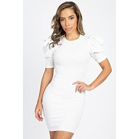 Stefani White Ribbed Knit Bodycon Puff Sleeve Mini Dress