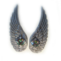 Silver Angel Wing Earrings with Rainbow Vintage by BreatheCouture