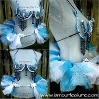 Elsa samba Dance Costume Rave Bra Tutu Bustle Halloween Burlesque Show Girl