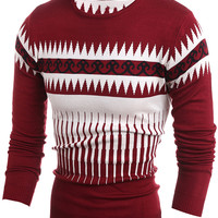 Round Neck Contrast Detail Ribbed Trim Knitted Sweater