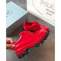 Prada Red Monolith Patent Leather Derby Shoes