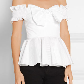 Caroline Constas - Artemis off-the-shoulder stripped cotton bustier top
