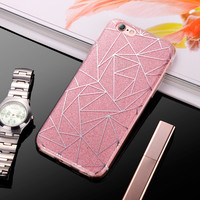 2017 Luxury Case For iPhone 6 Bling Glitter Sandstone Silicone Soft Case For iPhone 6S 7 Plus 5S SE Transparent Clear TPU Cover