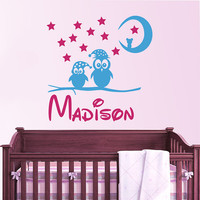 Owl Wall Decal Name Vinyl Sticker Personalized Custom Name Moon and Stars Decals Children Kids Baby Name Girls Nursery Boys Room Decor AN666