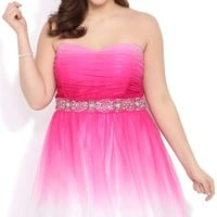 Plus Size Ombre Strapless