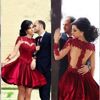 Homecoming Dress,Lace Red Long Sleeves Backless Short Prom Dress