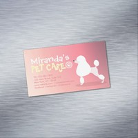 Pet Care Grooming Sitting Adorable Cartoon Dog Magnetic Business Card