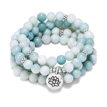 108 Natural Blue Lace Agate & Amazonite Stone Meditation Mala Beads with Lotus Charm