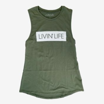 LIVIN' LIFE® Signature Muscle Tank (Military Green)