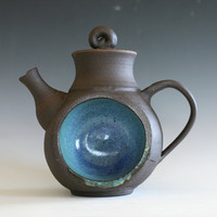 DISCOUNTED DECORATIVE TEAPOT- Blue Moon Teapot, Handmade Stoneware Teapot, Ceramic Teapot, wheel thrown teapot, pottery teapot