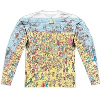 Where's Waldo Beach Scene Long Sleeve Sublimation Shirt