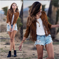 Khaki Fringed Leather Jacket