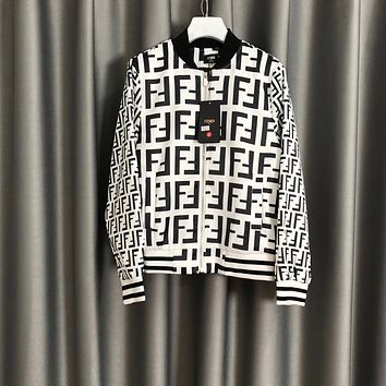 """""""Fendi"""" Unisex Sport Casual Solid Color Leisure Round Neck Letter Print Long Sleeve Zip Cardigan Jacket Coat Baseball Clothes"""