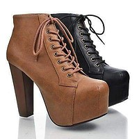 Rosa By Speed Limit 98, Cap Toe Lace Up Platform Ankle High Block Heel Bootie Sandal